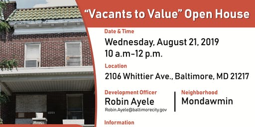 """""""Vacants to Value"""" Open House"""