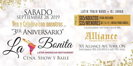 La bonita Restaurante,  3er aniversario. tickets