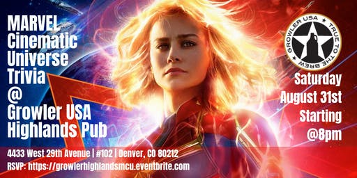 Marvel Cinematic Universe Trivia at Growler USA Highlands Pub