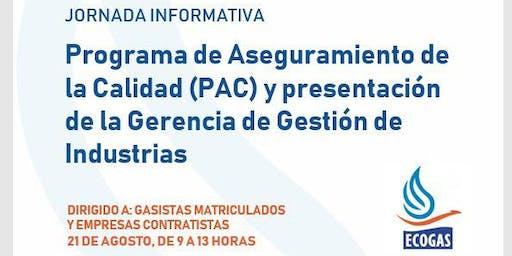 Programa de Aseguramiento de la Calidad (PAC) y presentación de la Gerencia de Gestión de Industrias