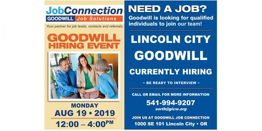 Goodwill is Hiring - Lincoln City - 8/19/19
