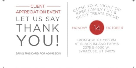 The WGR Client Appreciation Event at Black Island Farms tickets