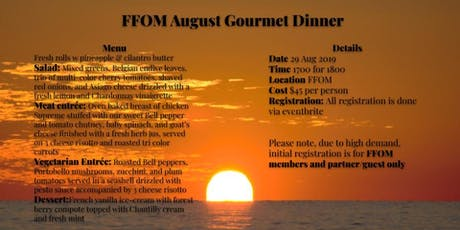 August Gourmet Dinner tickets