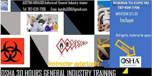 Certificación OSHA 30 Horas Industria General-31 de agosto-07,14 y 21 de Septiembre 2019