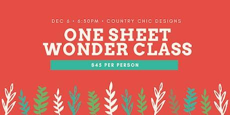 One Sheet Wonder Card Class tickets