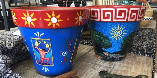 Hand Painted Southwestern or Loteria Flower Pot