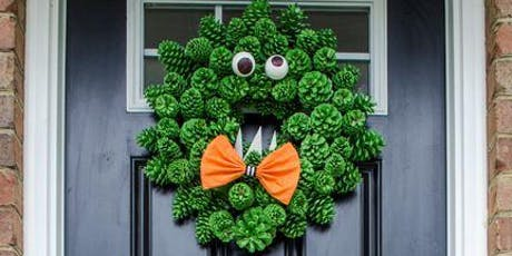 Pinecone Monster Wreath - easily update for Winter & Christmas tickets