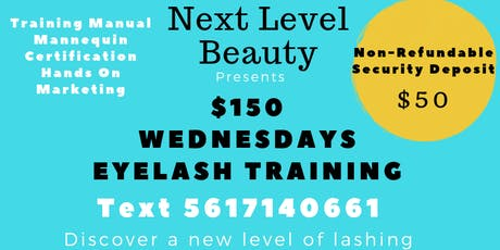 $150 EYELASH EXTENSION TRAINING Deposit tickets