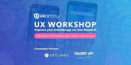 UX Workshop: Improve your website/app via User Research tickets