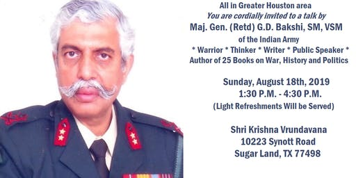 A Talk by Maj. Gen. (Retd.) G.D. Bakshi - Hindu Memorial Day, Houston 2019