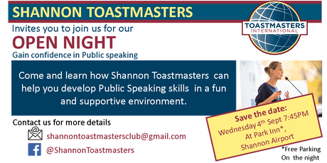 Shannon Toastmasters Club - Open Night tickets
