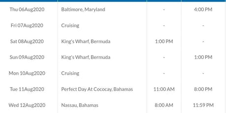Cruise From Baltimore 9 nights! tickets