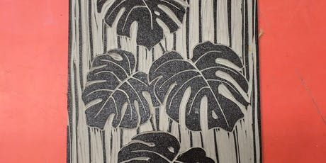 Lino cutting a Botanical print. Plant-Pattern-Print your own pattern onto paper. tickets