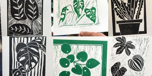 Drawing, Lino cutting and printing of botanicals- Framable art!