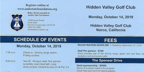 Andre Tate Foundation Charity Golf Tournament tickets