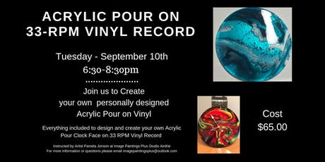 Acrylic Pour on 33rpm Vinyl Record tickets