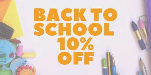 Back To School 10% Discount Days