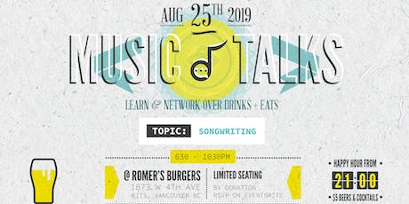 MUSIC TALKS Vol. 4 - A Songwriters Dinner & Learn Event. tickets