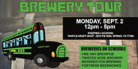 Cool Bus Houston Brewery Tour - LABOR DAY WEEKEND - 9/2 tickets
