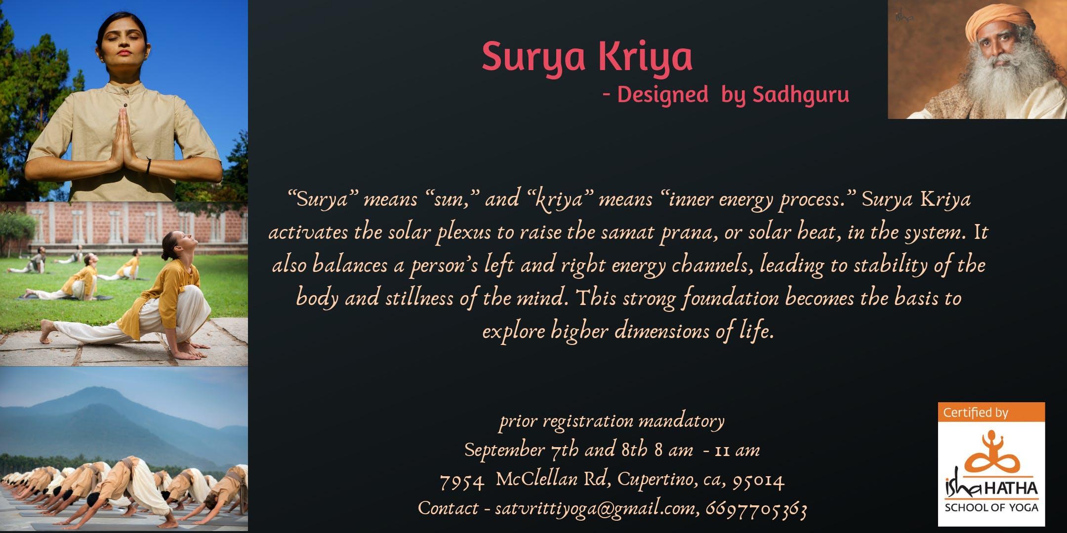 Surya Kriya In Bay Area 8 Sep 2019