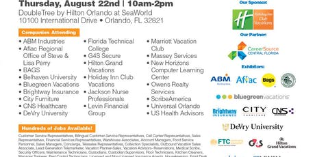 Orlando Job Fair - Aug 22nd - Over 30 Companies Hiring for 100's of Jobs tickets