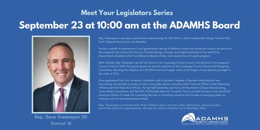 Meet Your Legislators Series September 23: Representative Dave Greenspan