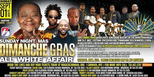 Sunday Night Mas': Dimanche Gras - An All White Affair featuring Calypso Rose, GBM Nutron, Lavaman, Tallpreeand more!