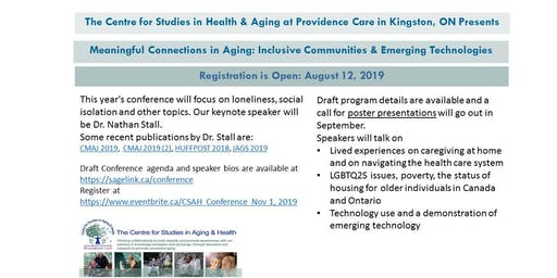 """Meaningful Connections in Aging: Inclusive Communities  & Emerging Technologies"""