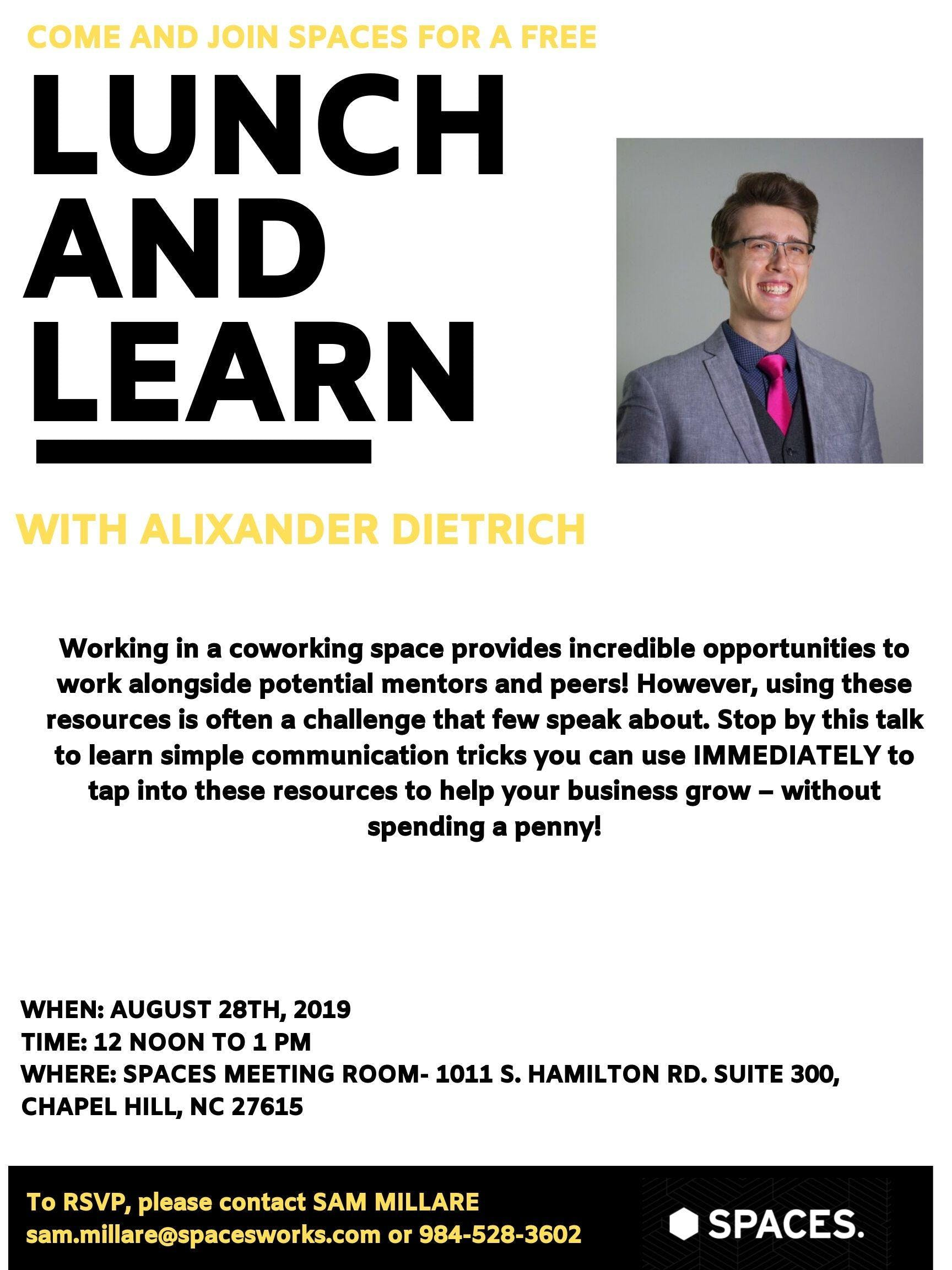 Join Spaces Chapel Hill for a FREE Lunch and Learn with Alixander Diettrich