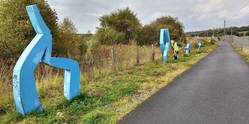 National Cycle Network Scything Task Day, Caldercruix, North Lanarkshire