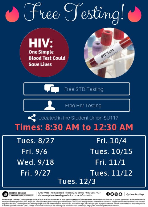 9/18 STD & HIV Testing for Phoenix College students
