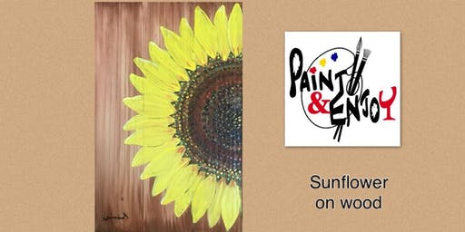 """Paint and Enjoy Parma Pizza Dallastown """"Sunflower"""" on wood"""