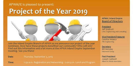 APWA/IE September 2019 Meeting   Project of The Year Awards tickets