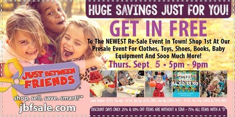 Newest Kids' Re-Sale Event: Special Pre-Sale Pass tickets