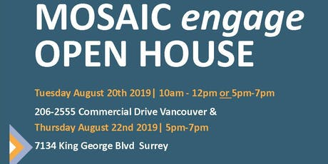 Open House- MOSAIC engage English Classes Surrey tickets