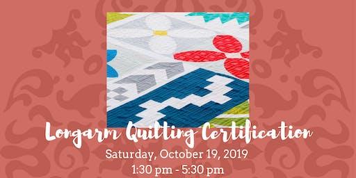 Longarm Quilting - Certification 10-19-19