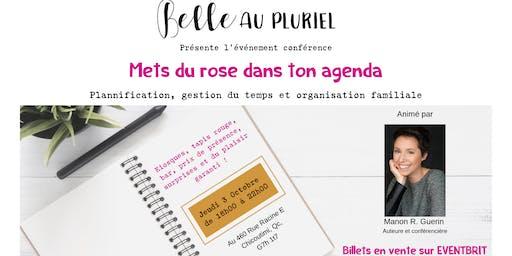 Mets du rose dans ton agenda, plannification, organisation gestion du temps