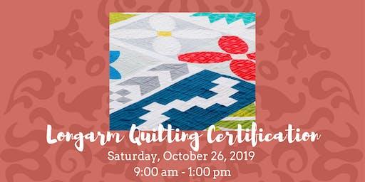 Longarm Quilting Certification - 10-26-19
