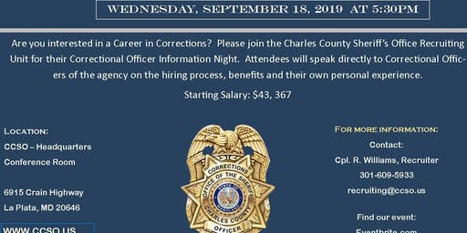 CHARLES COUNTY SHERIFF CORRECTIONAL OFFICER RECRUITING NIGHT
