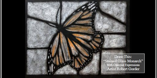 "Charcoal Drawing Event ""Stained Glass Monarch"" in Stevens Point"
