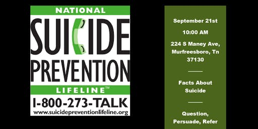 UPDATE:  Suicide Awareness Meeting Sept 21st