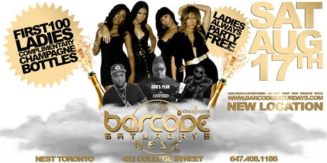 BARCODE SATURDAYS FREE CHAMPAGNE PARTY tickets