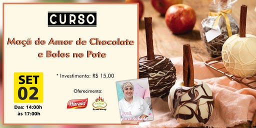 MAÇA DO AMOR DE CHOCOLATE E  BOLOS NO POTE