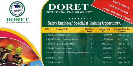 Safety Engineer/Safety Specialist Training tickets