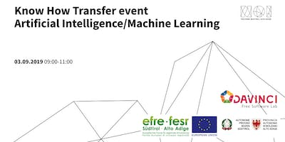 Know How Transfer Event Artificial Intelligence/Machine Learning 4th Meeting