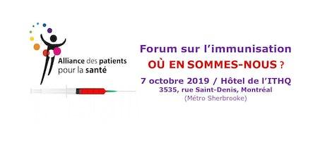 Forum sur l'immunisation au Québec : Où en sommes-nous ? tickets