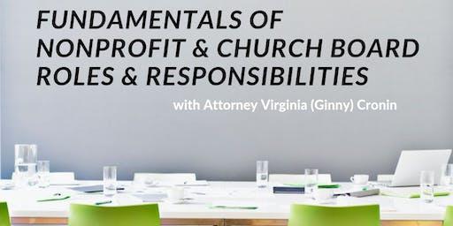 FUNDAMENTALS OF  NONPROFIT & CHURCH BOARD ROLES & RESPONSIBILITIES