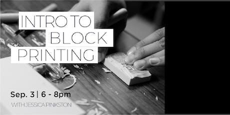 Intro to Block Printing with Jessica Pinkston tickets