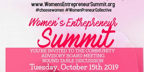 Women's Entrepreneur Summit Community Advisory Board Meeting - October 15th tickets