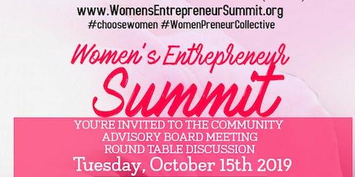Women's Entrepreneur Summit Community Advisory Board Meeting - October 15th